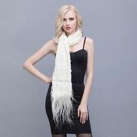 QIUSIDUN Real Rabbit Fur Knit Scarf Fashion Sheepskin Decoration Rectangular Scarf Winter Woman Warm Warm Scarfs