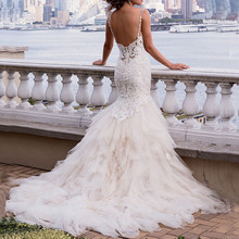 2015 Backless Spaghetti Strap Sexy Lace Wedding Dresses Mermaid Chapel Train Bridal Dress vestidos de noiva PP-88