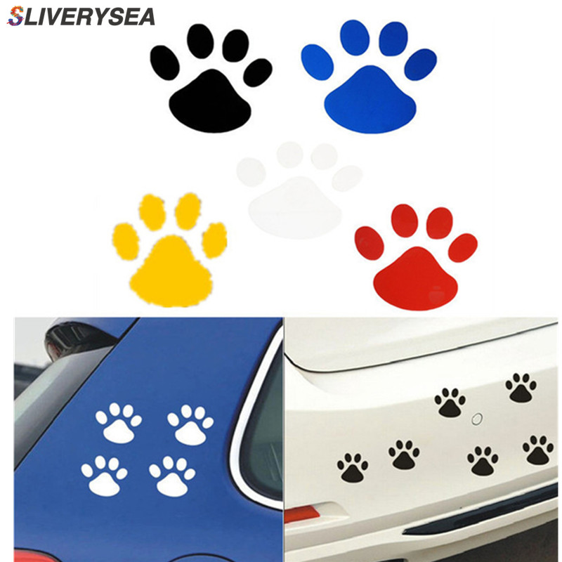 8Pcs Cute Paws Car Sticker Dog Footprint Decals Puppy Claws for Bumper Windshield Door Mirror Motorcycle Refrigerator Wall