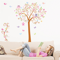 Lovely Owls Couple On Tree Birds Cage Butterfly Pvc Wall Stickers Removable Art Decor Mural