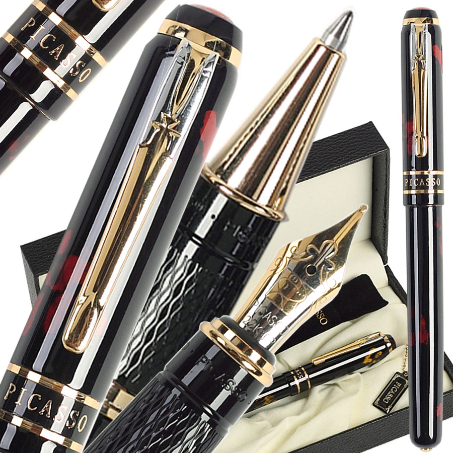 Gel RollerBall pen or Fountain Pen M Nib 22kgp Original Picasso 998 school and office stationery  Free Shipping 8pcs lot wholesale fountain pen black m 14 k solid gold nib or rollerball pen picasso 89 big executive stationery free shipping