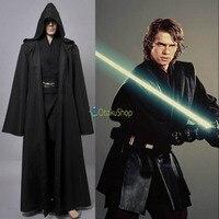 2016 Star Wars Anakin Skywalker Cosplay Costume Jedi Knight Hooded Cloak Robe Halloween Costumes Whole Set