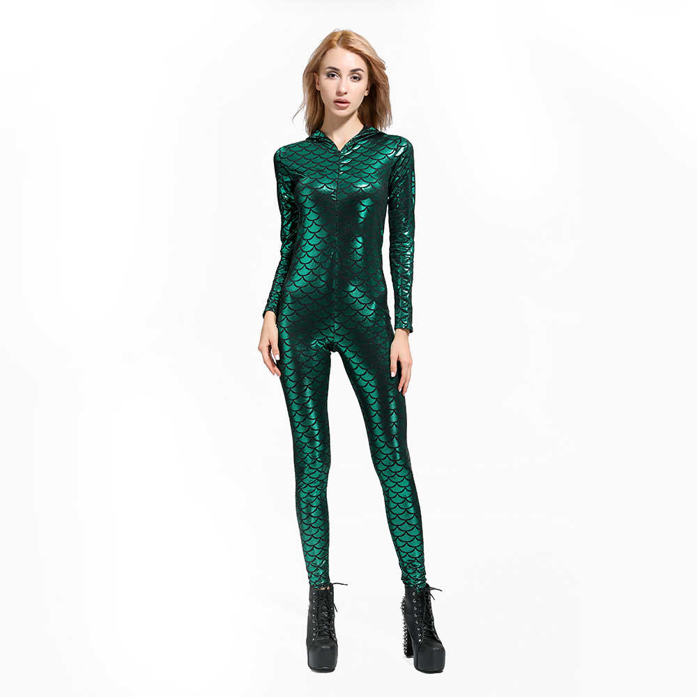 b602fb993ad0 ... New Fish Dragon Scales Women Faux Leather Jumpsuit Holographic Metallic  Catsuit bodysuit Sexy Jumpsuit Mermaid Suits ...