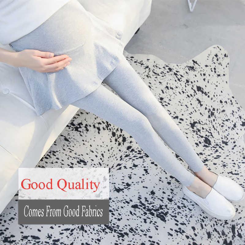 Хлопчатобумажная одежда для беременных Новый Модный корейский стиль поддельные-двойка леггинсы юбки для беременных женщин штаны брюки 30%