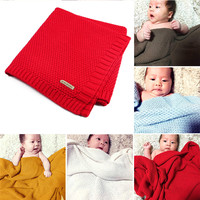 100 Organic Cotton Knitted Baby Blanket High Quality Candy Color Infant Woolen Blanket For Boys Girls