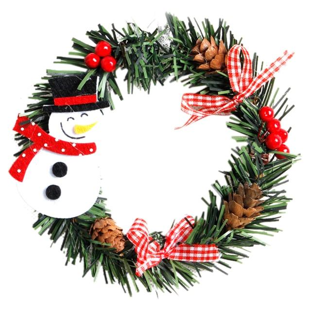 2 unids plstico navidad guirnalda navidad decoracin para el hogar pino mueco de nieve santa claus - Guirnalda Navidad