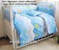 Promoção! 6/7 PCS oceano jogo de cama dos desenhos animados fundamento do bebê set cama de bebê berço do bebê conjunto de berço bumper set bebê, 120*60/120*70 cm