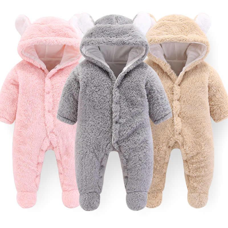 2019 г., зимняя одежда с капюшоном для новорожденных детей новая весенняя верхняя одежда розового цвета из полиэстера для маленьких девочек, комбинезон для мальчиков возрастом от 3 месяцев до 12 месяцев