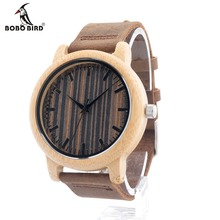 BOBO BIRD Natural Wood Bamboo Watches Mens Womens Vintage Wooden Watch With Genuine Leather Band