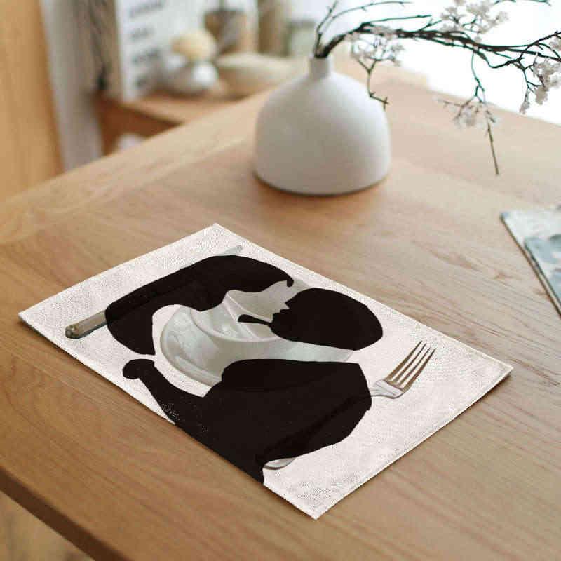 الصينية زوجين عشاق النقاط الجدول منديل الأسود والبيج مخطط تحديد الموقع رسالة ارتفع الجدول حصيرة ديكور قاعة الطعام البيت