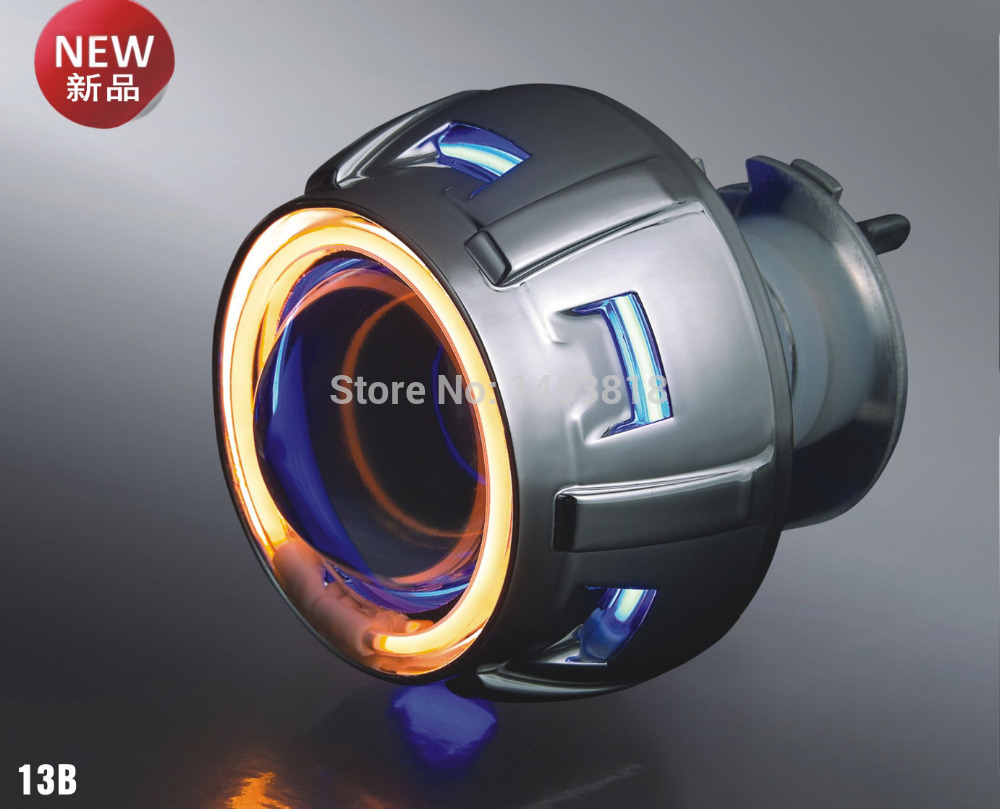 13B 35w 2'' inch bixenon projector lens Universal H4 4300k 6000k 8000k red yellow blue white double angel eyes motorcycle цены