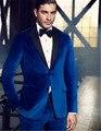 De alta Calidad de Royal Blue Velvet Hombre Chaqueta Vestido de Fiesta Trajes de Novio Esmoquin hombres (Jacket + Pants + Bow Tie) K: 1041