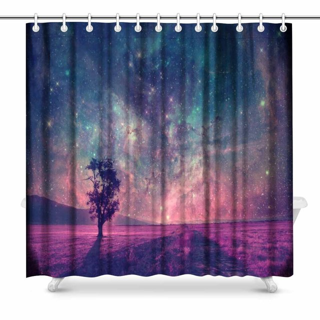 Aplysia Red Alien Landscape With Alone Tree Silhouette In Purple Field Bathroom Shower Curtain Accessories 72W X 72L Inches
