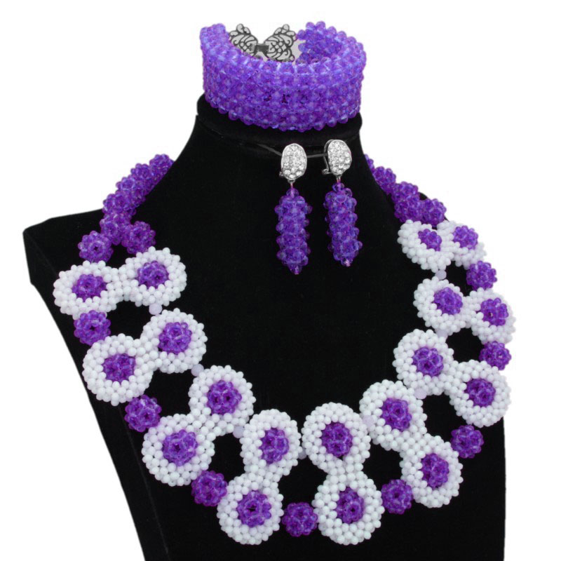 4 ubijoux bijoux ensemble mariée perles africaines Costume bijoux ensemble violet/vert/rouge/Fuchsia pour les femmes 2019 dernière main