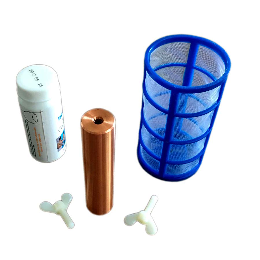 electrode anode chlorine-free copper anode replacement for solar pool purifier use + paper test stripe + net guard +brush