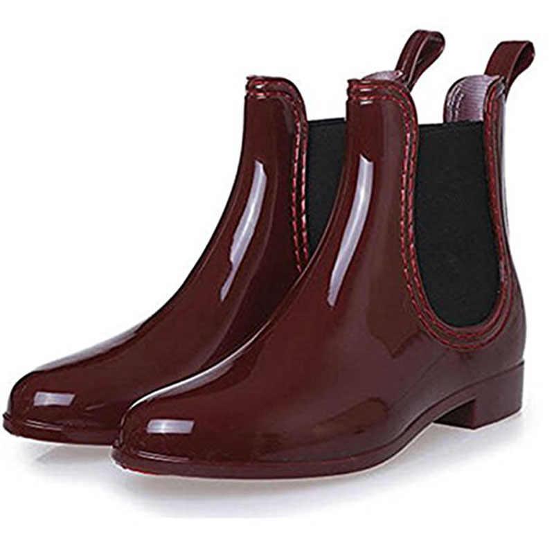 SAGUARO 2019 Neue Gummi Stiefel für Frauen PVC Ankle Regen Stiefel Wasserdicht Trendy Gelee Frauen Boot Elastische Band Regnerischen Schuhe frau