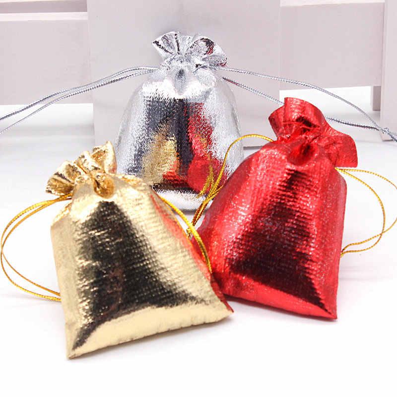 10 sztuk/paczka złoty i srebrny czerwony płócienna torba torba ze sznurkiem opakowanie świąteczne torby na prezenty ślubne pudełko cukierków torby na czekoladki