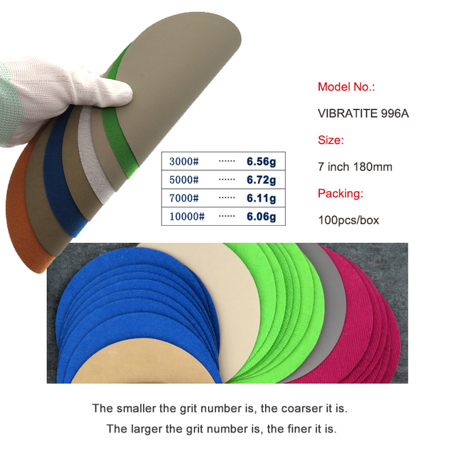 5 pcs 7 Inch 180mm Waterproof Sanding Discs Hook & Loop Silicon Carbide Sandpaper Wet/Dry3000 to 10000 Grit for Polishing
