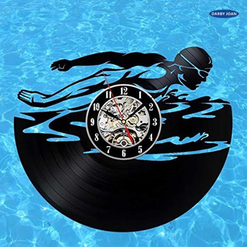 السباحة هدية غرفة الفن الفينيل ساعة الحائط الحديثة سجل خمر تزيين المنزل