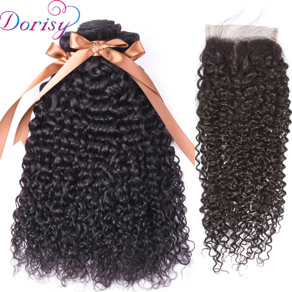 Dorisy Hair Peruvian Kinky Curly Bundles With Closure 3pcs Human Hair Bundles With Closure Non Remy Hair Weaving Extensions