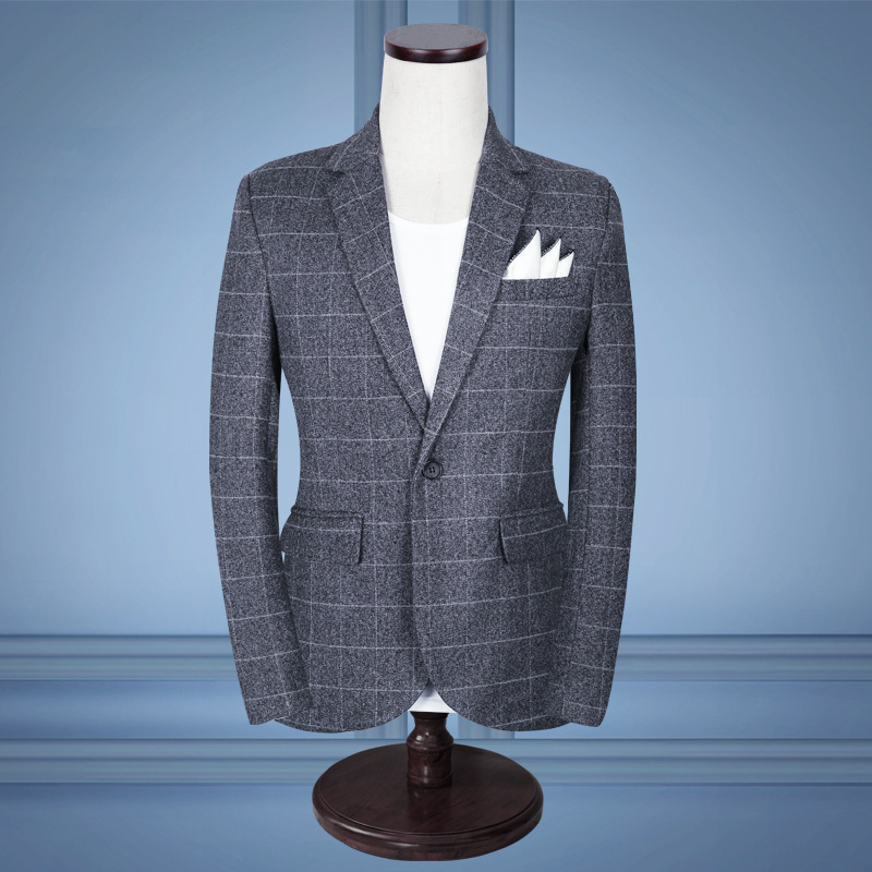 2018 small blazer mens business casual Cultivate ones morality grid blazer set of wedding dress