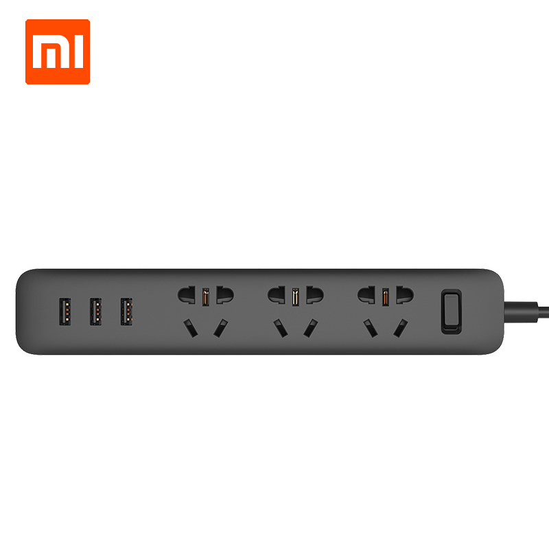 Original Xiaomi Power Strip Outlet Socket 3 USB Extension Socket Plug Smart Extension Wall Socket with AU/EU/UK/US Adapter original xiaomi power strip smart home electronics fast charging 3 usb 2 0 interface extension socket plug with eu uk au adapter