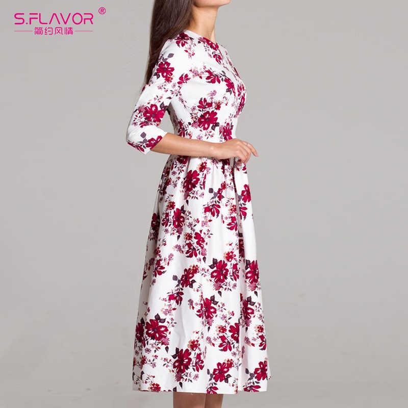 S. FLAVOR элегантное женское платье до середины икры с круглым вырезом 3/4 рукав Бохо с цветочным принтом А-силуэта Vestidos Новое Женское весенне-летнее платье