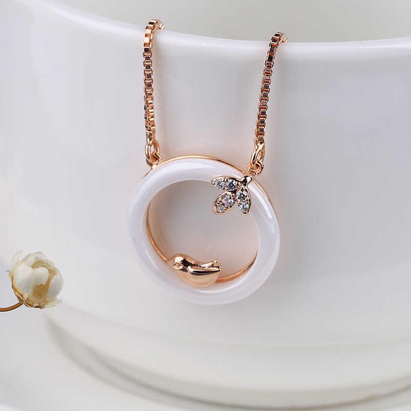 Moda Lindo Colar de Pingente de Declaração Para As Mulheres 585 de Ouro Rosa Bonito De Cristal Pássaro Folha Rodada Círculo Colares Amor Feminino Presente