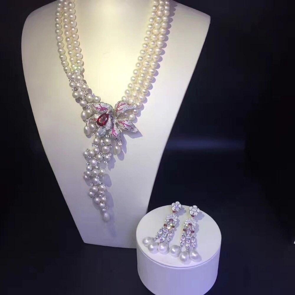 Collier de bijoux et boucles d'oreilles ensemble collier de perles naturelles et boucle d'oreille bijoux de fête de mariage bijoux de mode femmes