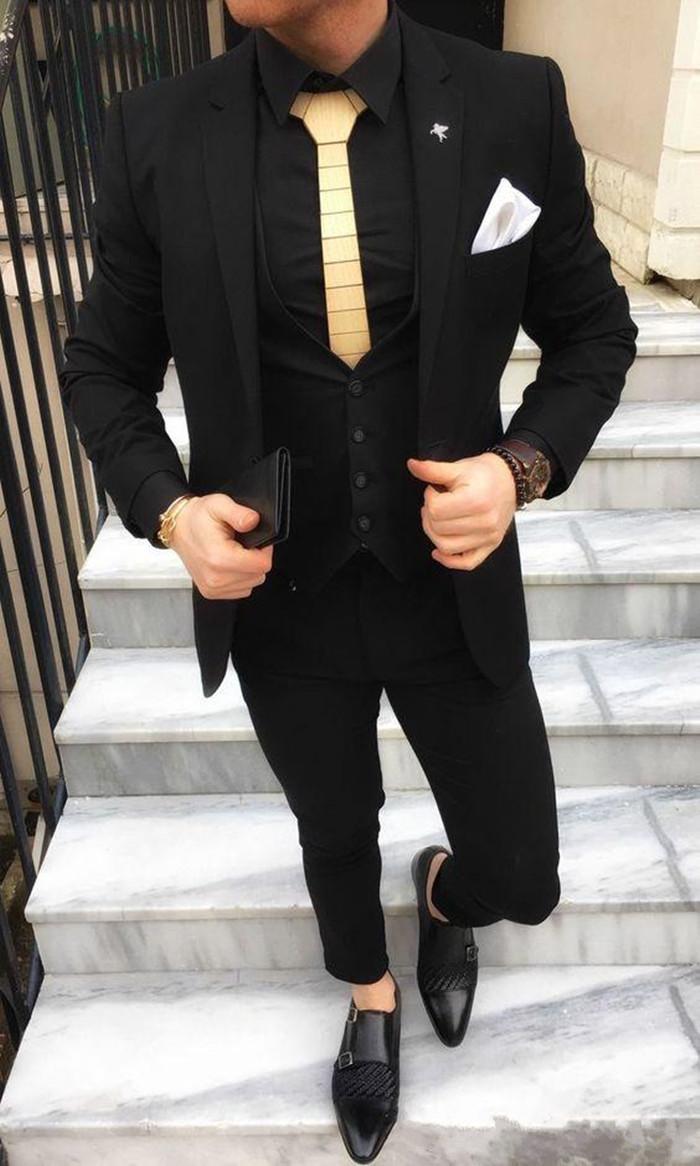 Черные смокинги жениха на одной пуговице с узором пейсли, шаль с отворотом для жениха, лучшие мужские костюмы, мужские свадебные костюмы(пиджак+ брюки+ жилет+ галстук - Цвет: 6