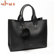 Miyaco sac à main avec pompon en cuir pour femmes, sacs fourre tout pour dames, sacs à main avec boule de fourrure, sacoche de marque