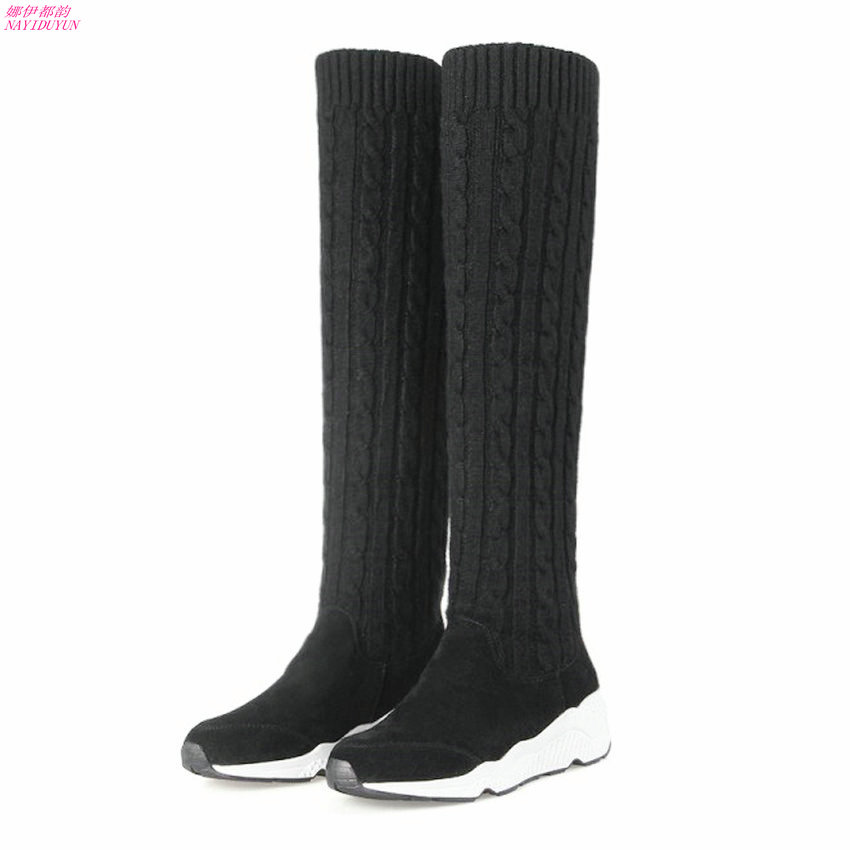 где купить NAYIDUYUN Thigh High Boots Women Cow Suede Leather Round Toe Over Knee Boots Stretchy Slim Leg Wedge Heel Party Sneaker Pumps по лучшей цене