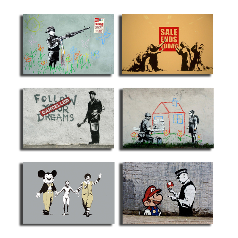 Banksy Girl With Balloon Wall Art Canvas Poster And Print Canvas Painting Decorative Salon Picture For Bedroom Modern Home Decor