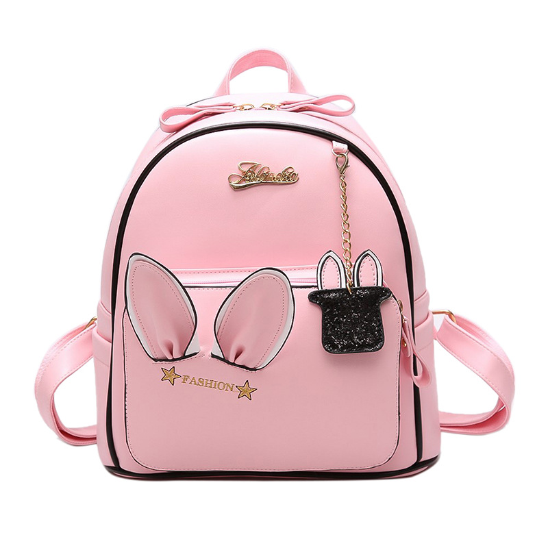 Cute Animal Fashion Women's Backpack PU Leather School Bag for Teenage Girls Cartoon Rucksack for Children Small Rabbit Backpack
