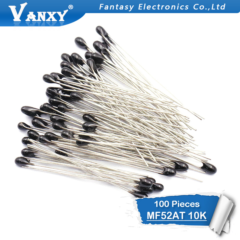 100pcs 10k OHM NTC MF52AT 3950 Thermistor Resistor NTC-MF52AT MF52 10K +/-1% Thermal Resistor