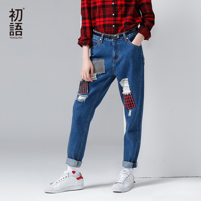 Toyouth Loose Jeans Women Winter New Patchwork Street Style Fashion Ripped Jeans BF Slim Full ...