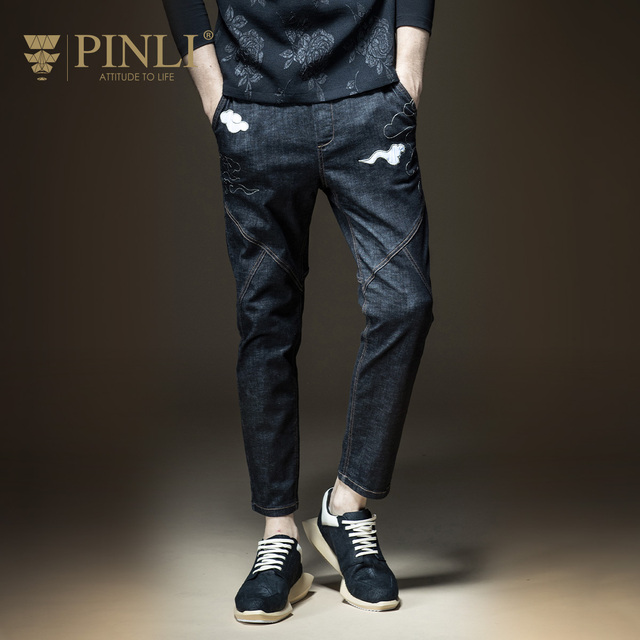d73a698d8a43 2018 Top Sale Pinli Product Made Men s Feet Pants Embroidered Male Of Han  Edition Cultivate Morality Jeans Casual B173616352
