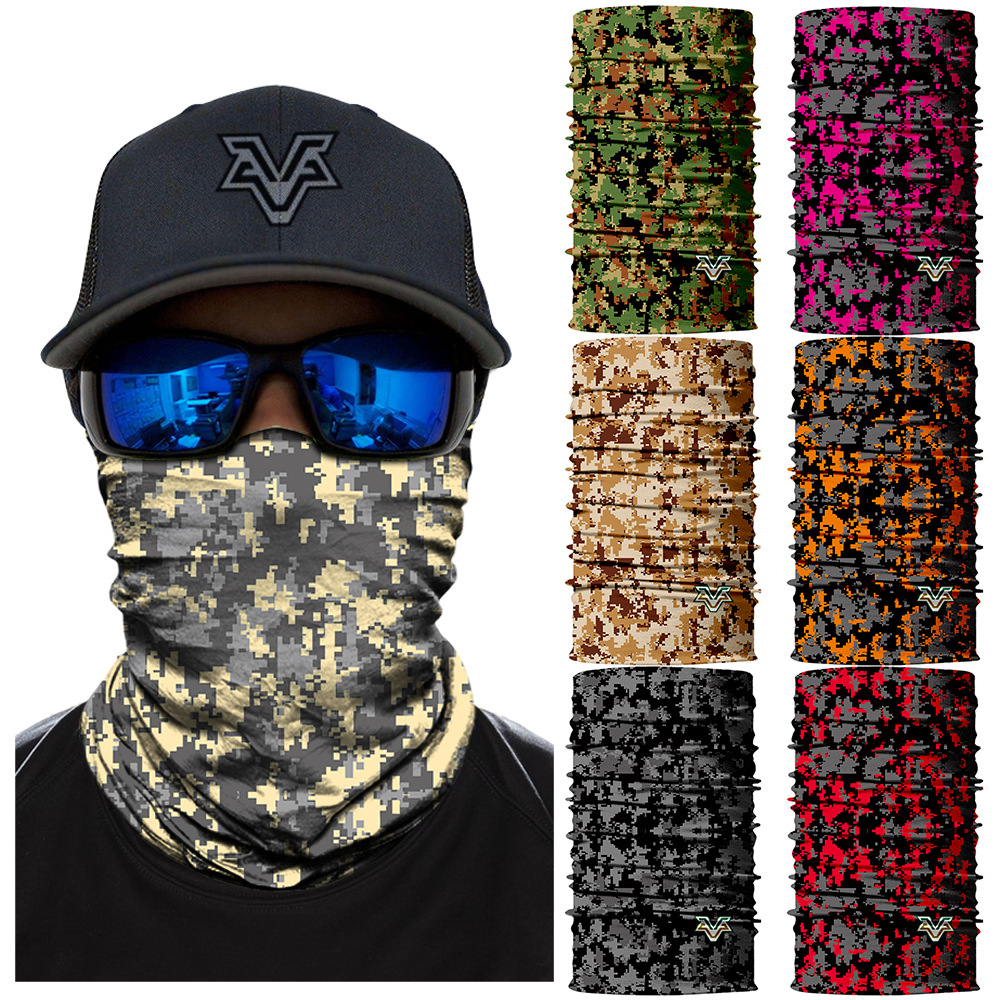 4pc Camo Headband Hair Band Headwrap Face Mask Bandana Neck Shield Gaiter SPF40
