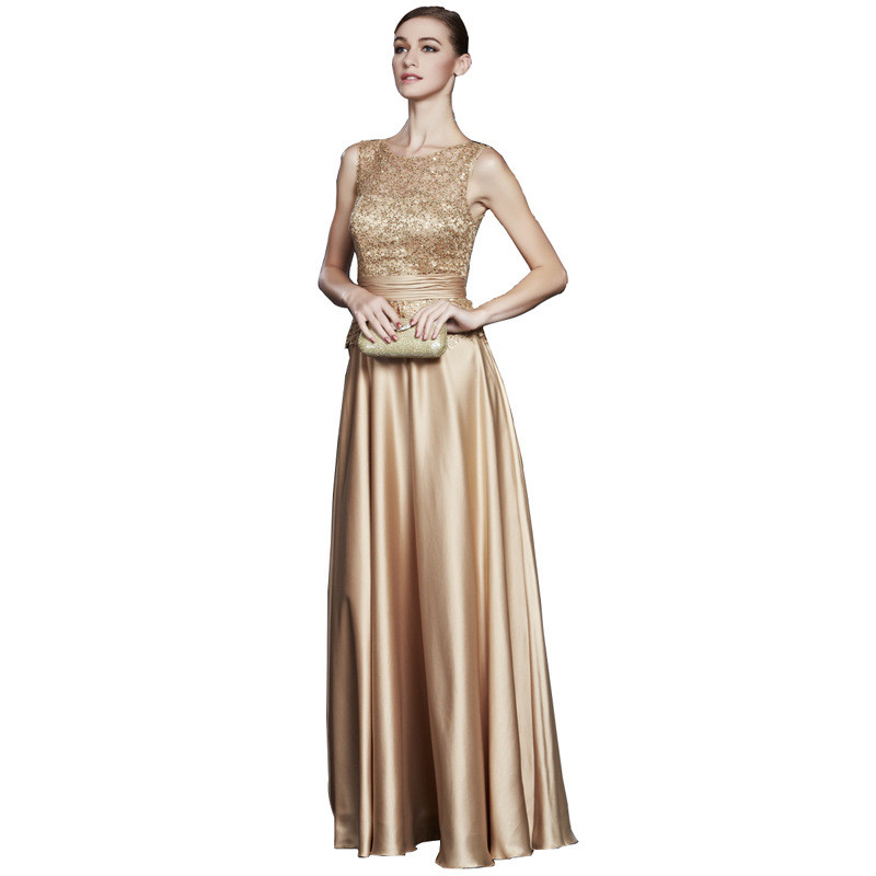 Holievery Gold Satin Long Bridesmaid Dresses With Lace Top