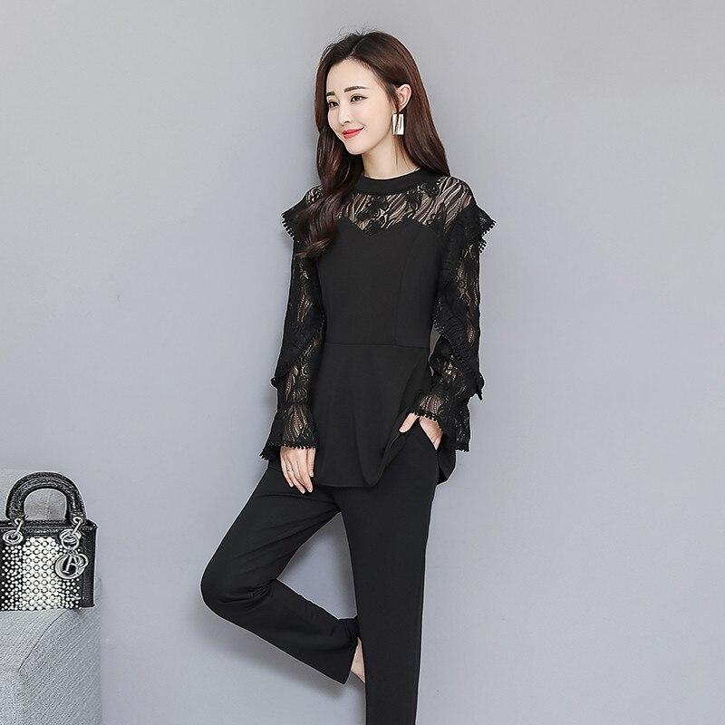 Xl-5xl Plus Size Black Lace Two Piece Women Sets Flare Sleeve Tunic Tops+pants Trousers Sets Suits Office Elegant Women's Sets 31