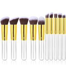 New 10PCS White/Gold Makeup Brushes Set Cosmetics Women Makeup Tool Powder Brush Cosmetic Set  pincel maquiagem кисти для макияжа new 9 pincel maquiagem 9pcscandybrush