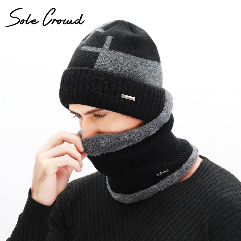 Suela multitud doble capa de terciopelo grueso hombres bufanda de punto sombreros de invierno gorros calientes para los hombres de punto Skullies gorros casquillo del invierno