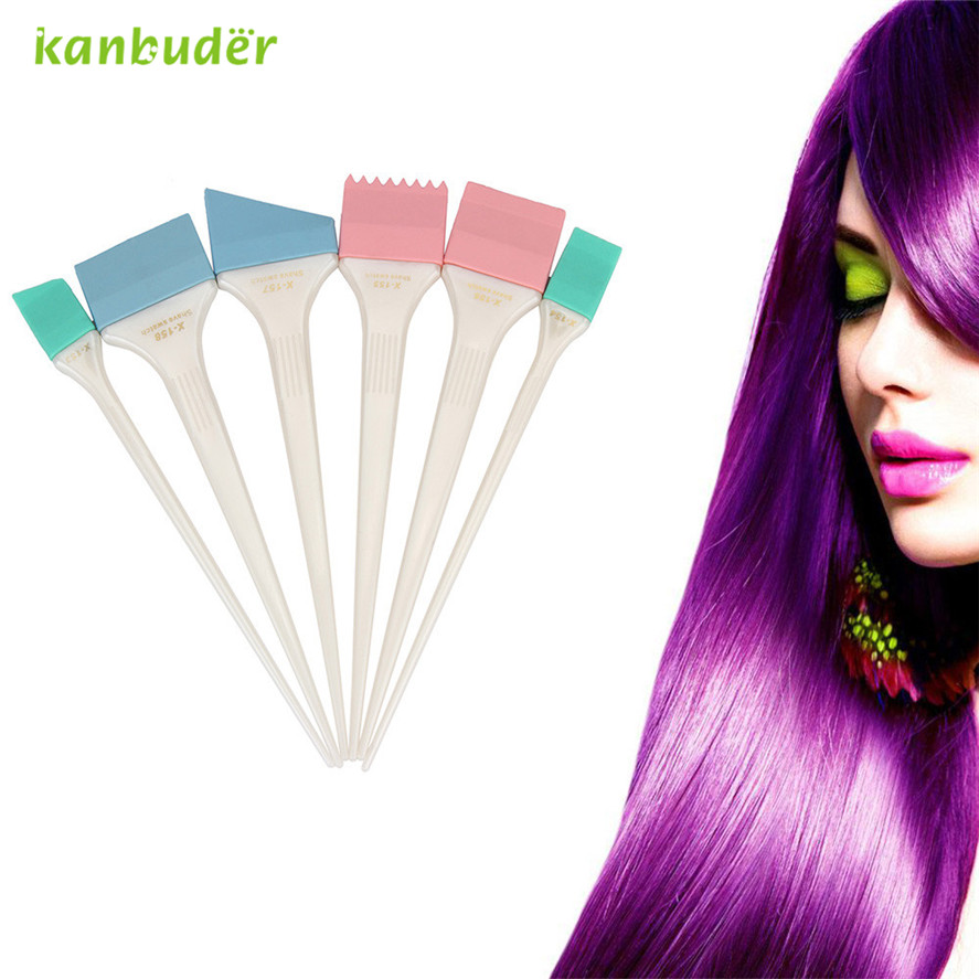 Kanbuder Pretty Professional Dye Hair Brush 6Pcs Large Hair Dye Colour Brushes Scraping Plates Hairdresser Salon Brush Kit