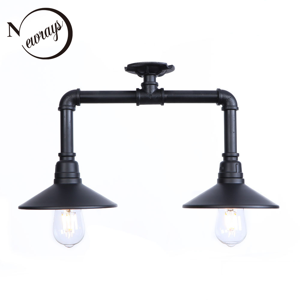 Vintage art deco painted industrial ceiling lamps E27 LED 220V water pipe ceiling lights for living room bedroom study cafe bar