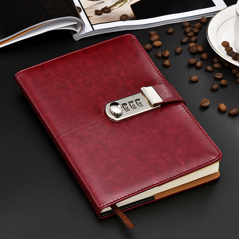 US $17 0 40% OFF Hot stationery Notebook paper 100 sheest A5 Diary with  lock code Bussiness paperback creative Trends leather Notepad gift-in