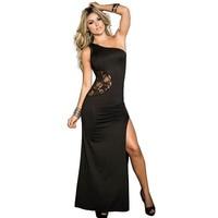 Een Stuk Zwart Een Schouder Patchwork Kant Terug Sexy Lingerie Jurk Lange Gown Club Nachtjapon voor Dame L51302-1