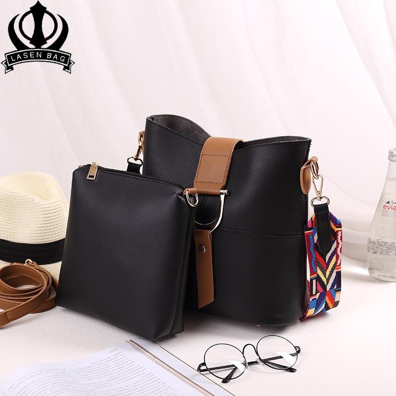 ced68efa41c6 US $46.22 |Lasen bag Luxury Designer Bucket bag Women Leather Wide Color  Strap Shoulder bag Handbag Large Capacity Crossbody bag For women-in  Shoulder ...