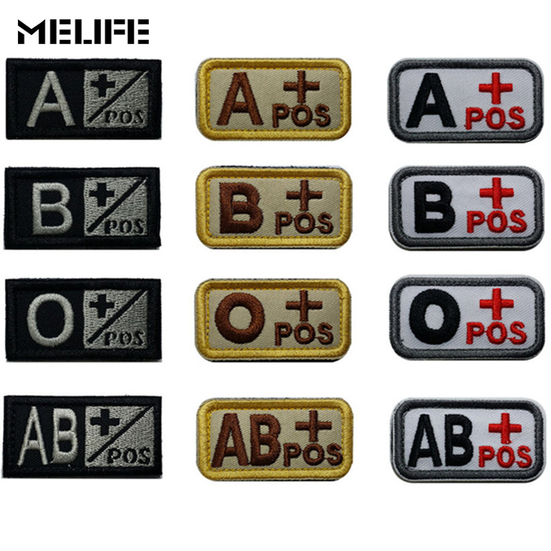 Hunting Accessories Military Patches Blood Positive Embroidered Tactical Patch Tactical Stripes A+ O+ B+ AB+ Positive Bag Badges