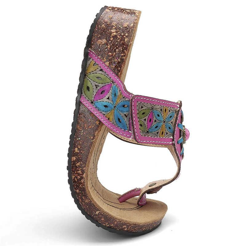 Socofy ボヘミアンビーチスリッパ女性靴ヴィンテージフラワー本物の革の靴の女性の夏のフリップはスライドスリッパ