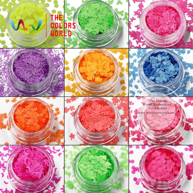 TCFST-001 solvent 12 colores de las clases y 12 tipos de formas de Neón Brillo para el arte del clavo, gel de uñas, maquillaje y la decoración de DIY